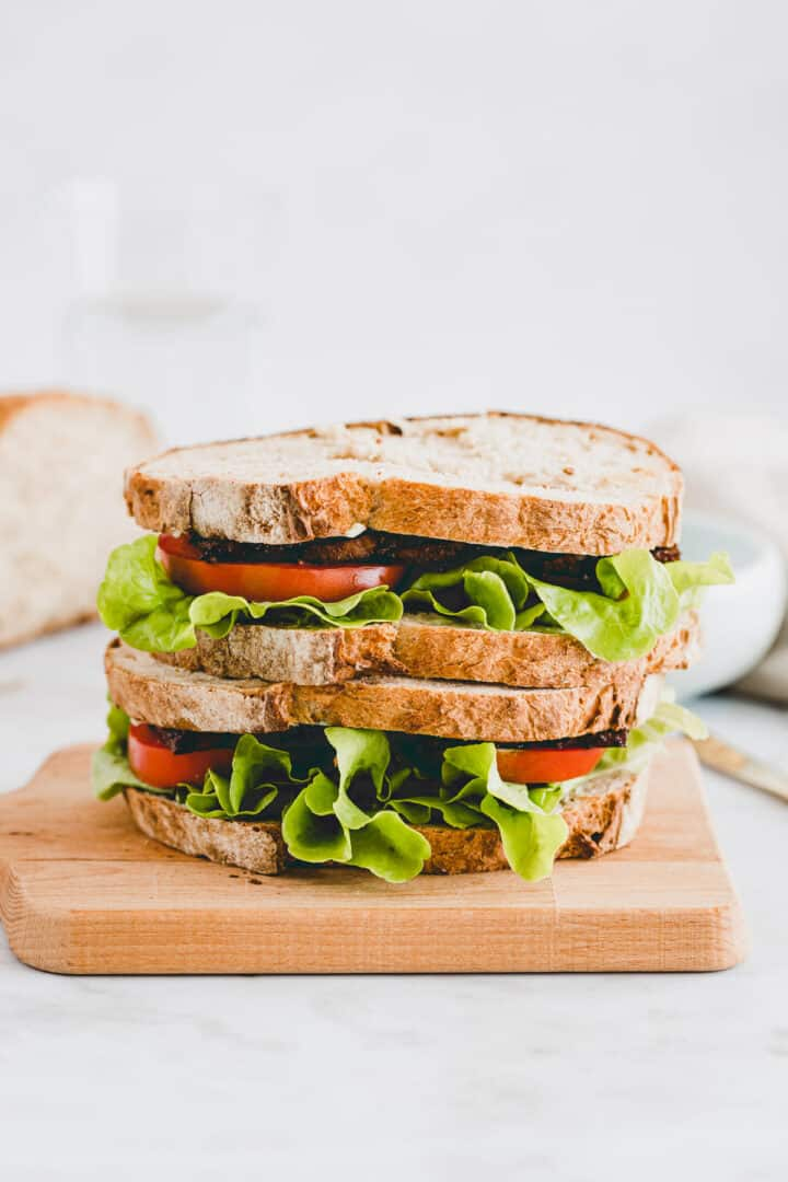 vegan blt sandwich on a cutting board