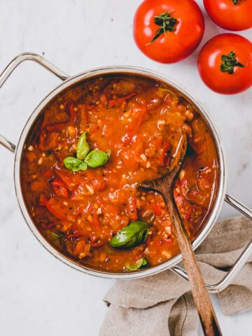 fresh tomato sauce in a pot