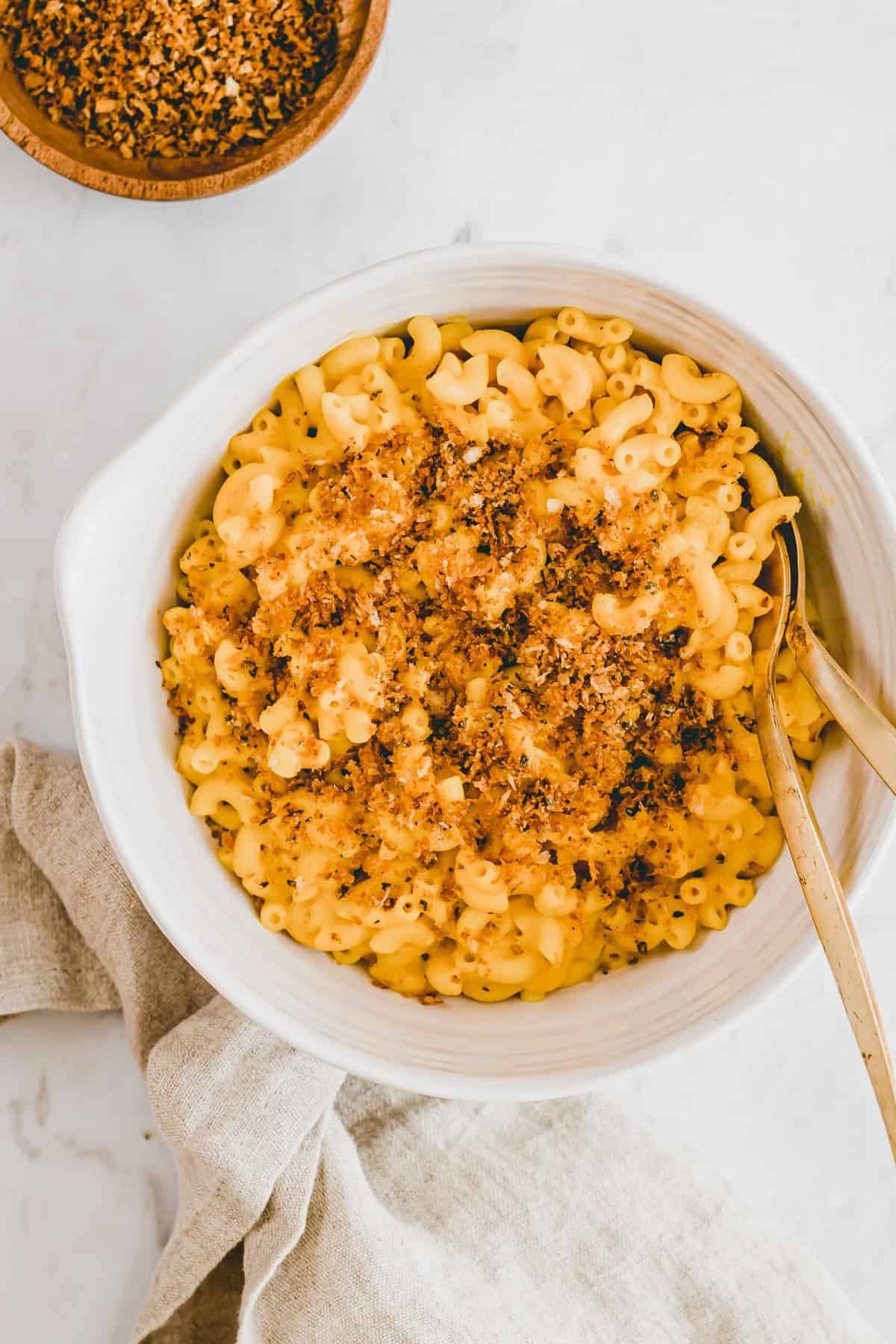 kürbis mac and cheese mit panko topping