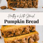 pumpkin bread with streusel pinterest pin