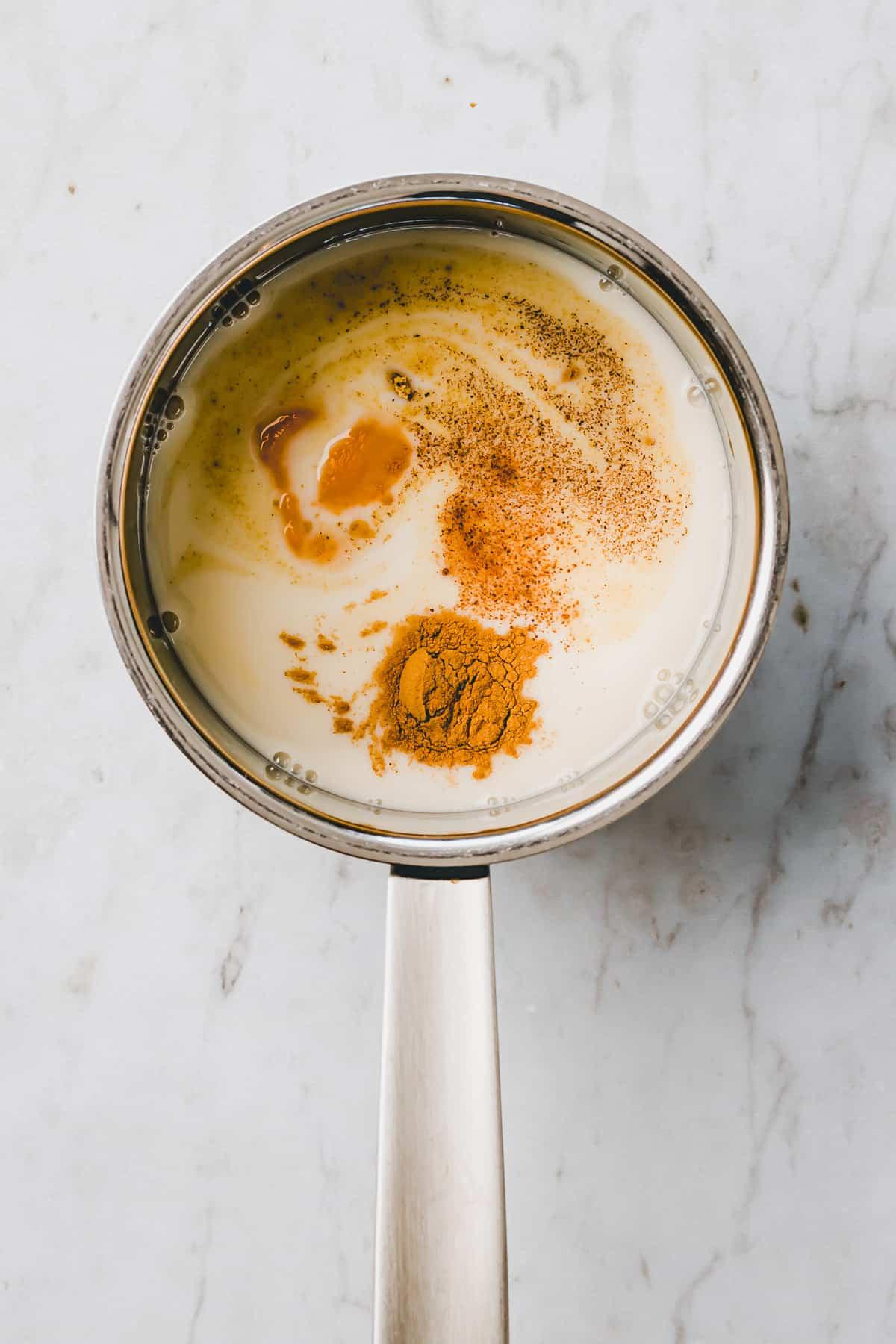 vegan pumpkin spice latte recipe step 1