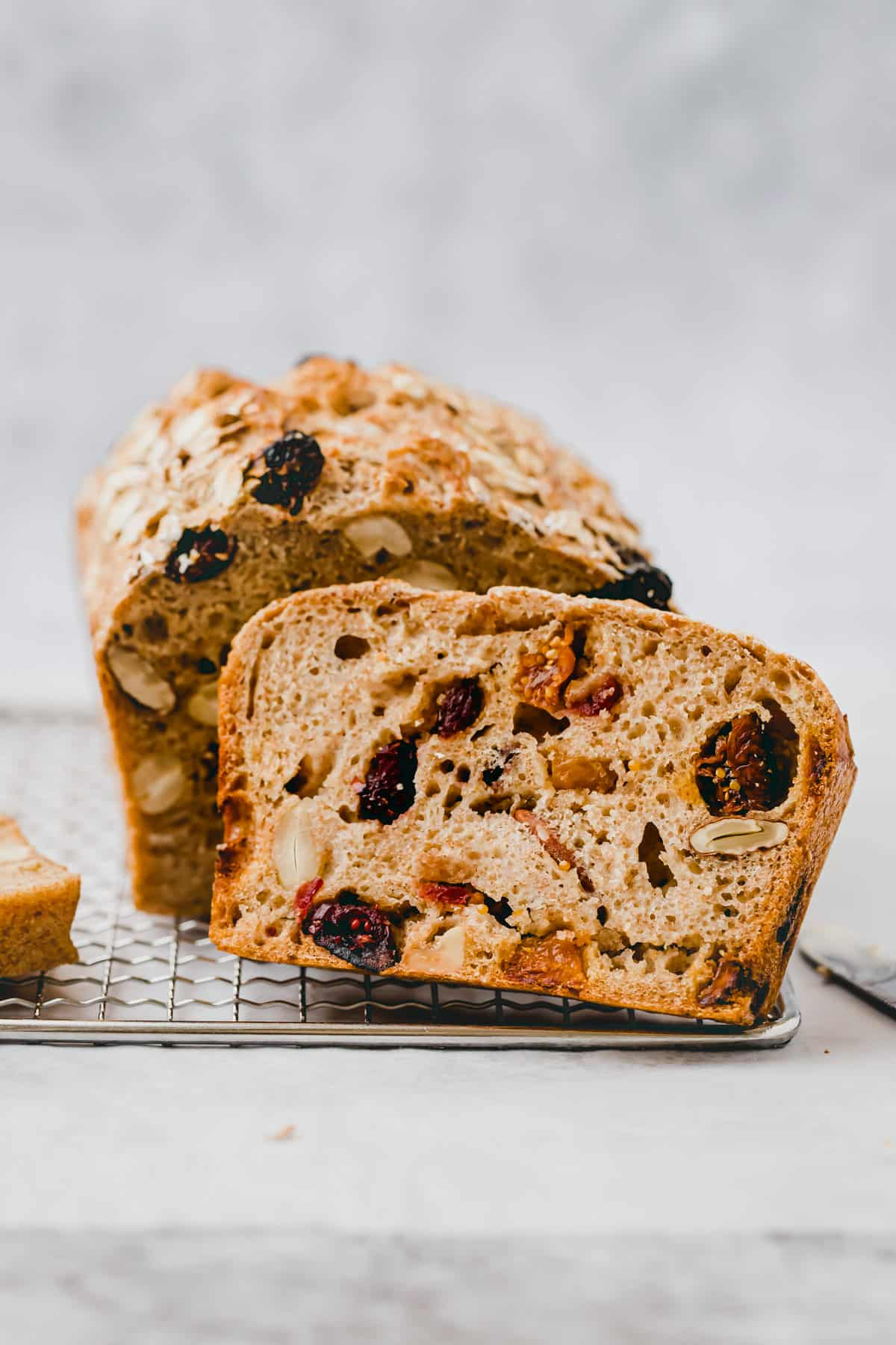 healthy spelt bread filled with dried fruit and nuts