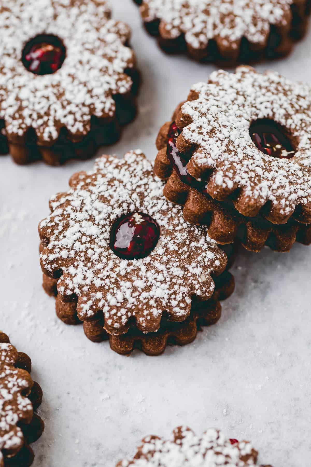 macro shot of raspberry linzer cookies