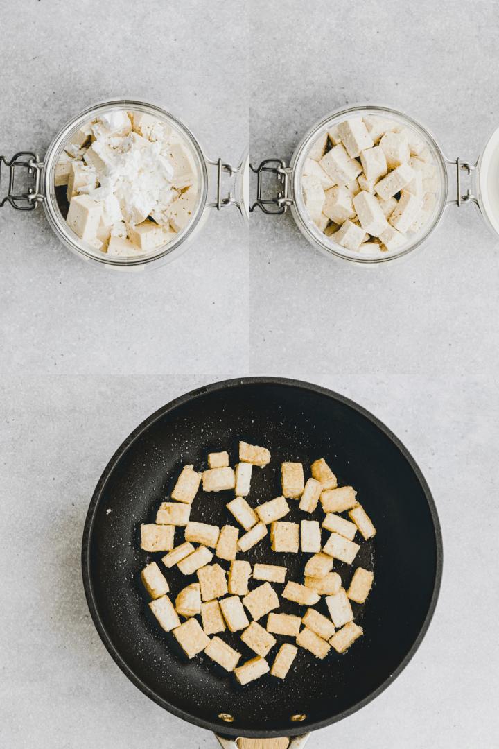 Asiatisch gebratener Tofu Rezept Schritt 1-3