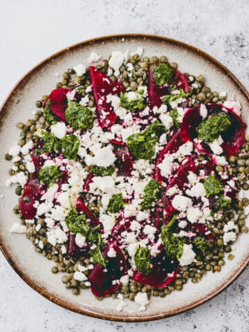 French Lentil Salad with Beet and Feta