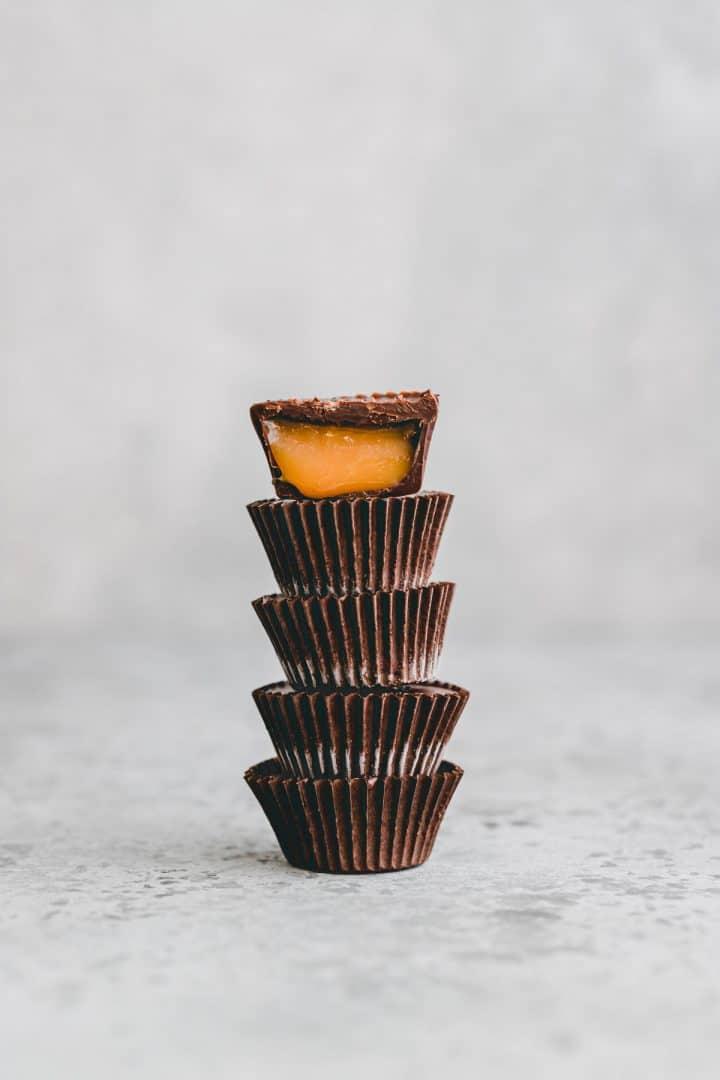 stapled chocolate caramel cups