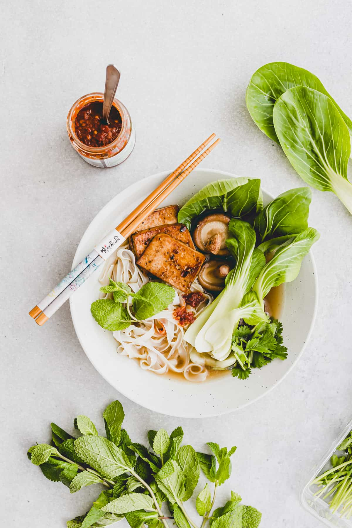 vietnamese noodles soup with tofu