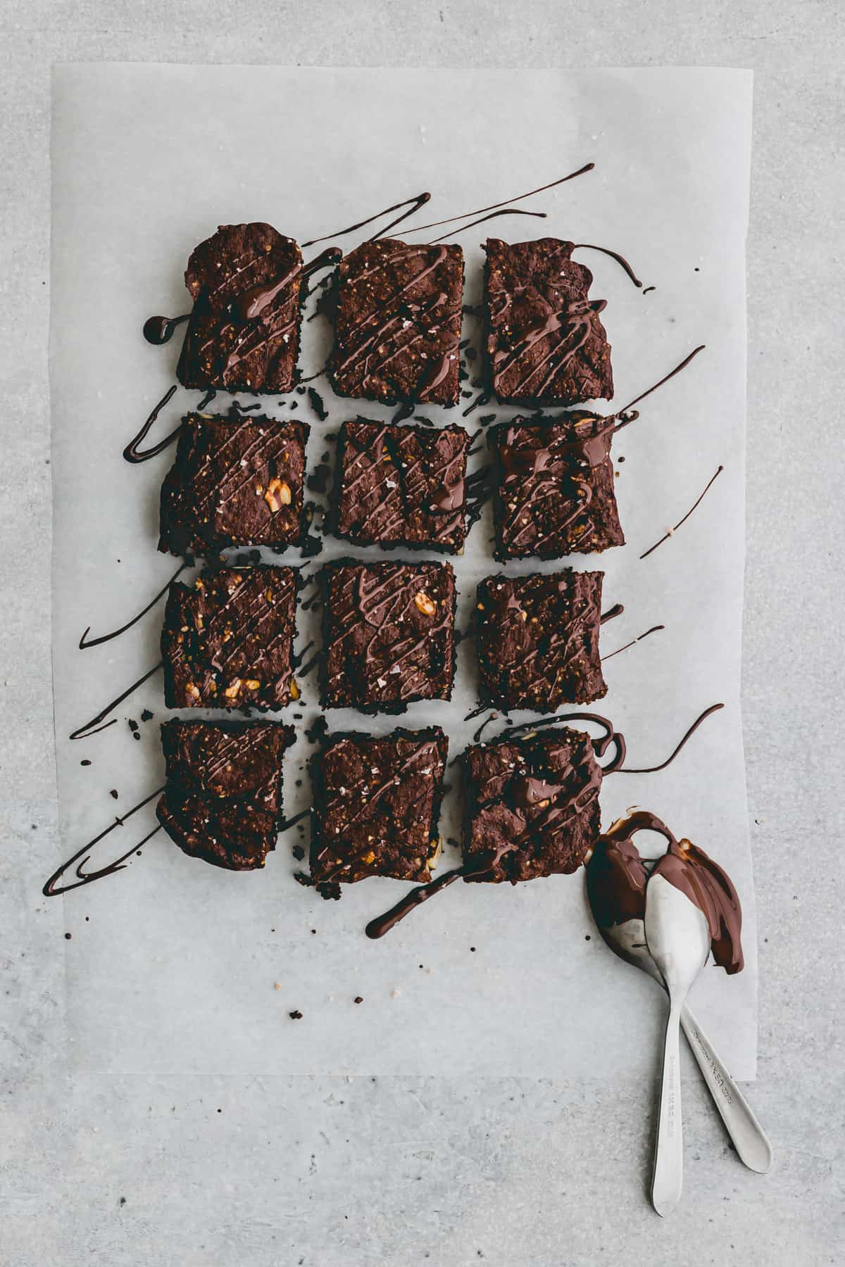 gluten-free paleo brownies drizzled with melted chocolate