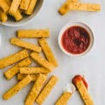 baked polenta fries with ketchup