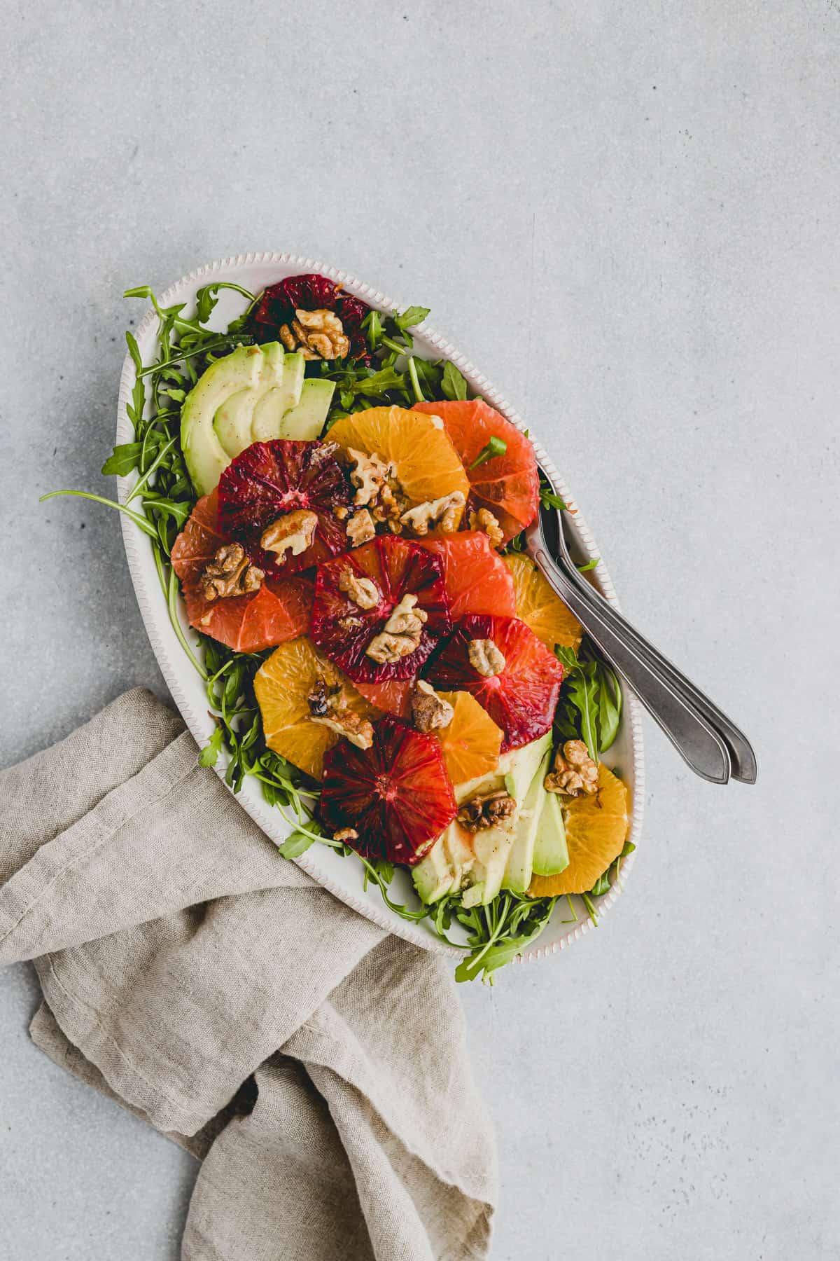 arugula avocado salad with orange and grapefruit
