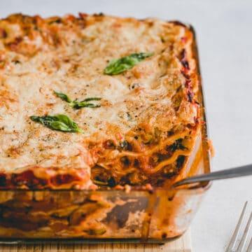 vegetarian lasagna in a baking dish