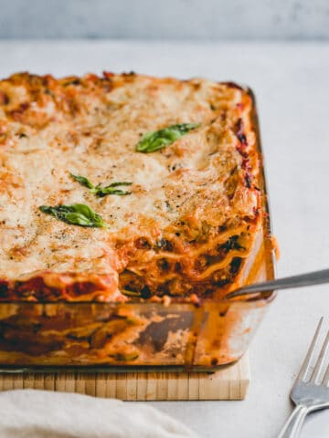 vegetarian lasagna in a baking dish