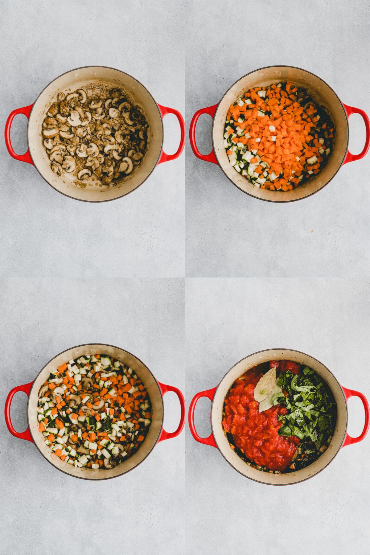 Gemüselasagne Rezept Schritt 1-4