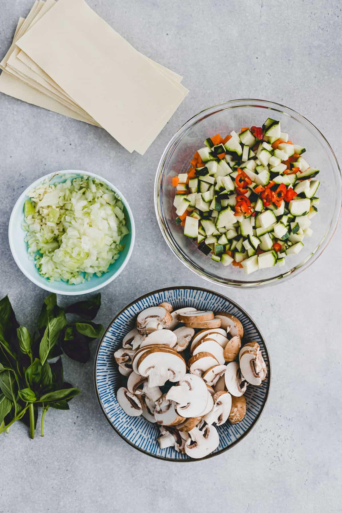 Zutaten für vegetarische Gemüselasagne