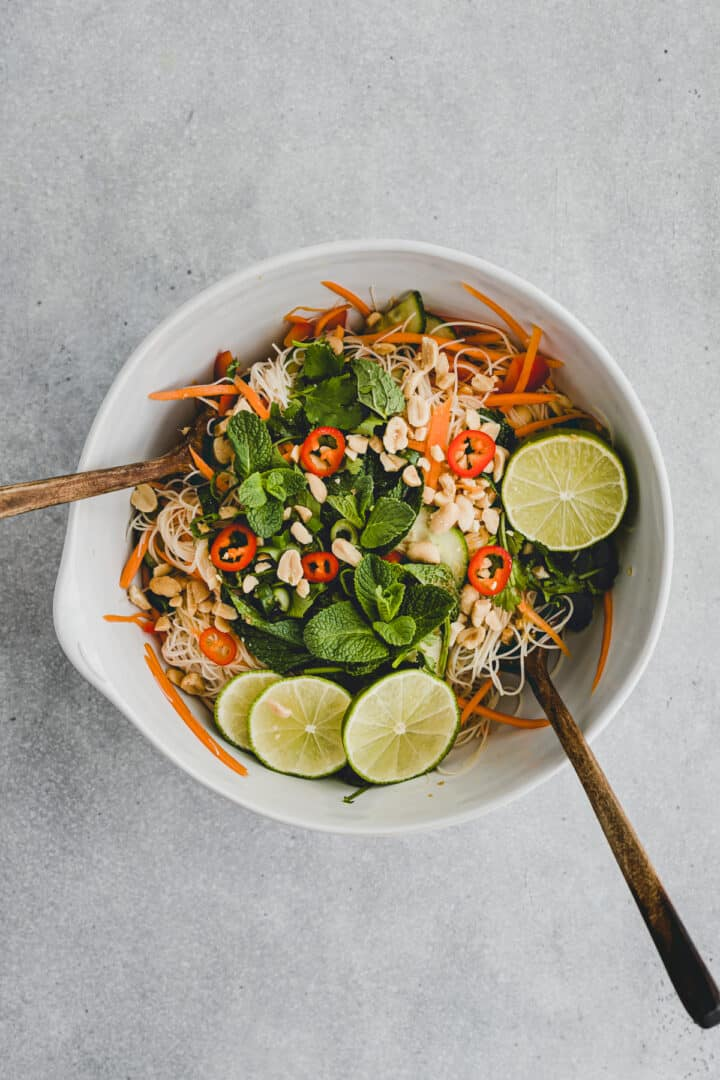vermicelli noodle salad in a bowl