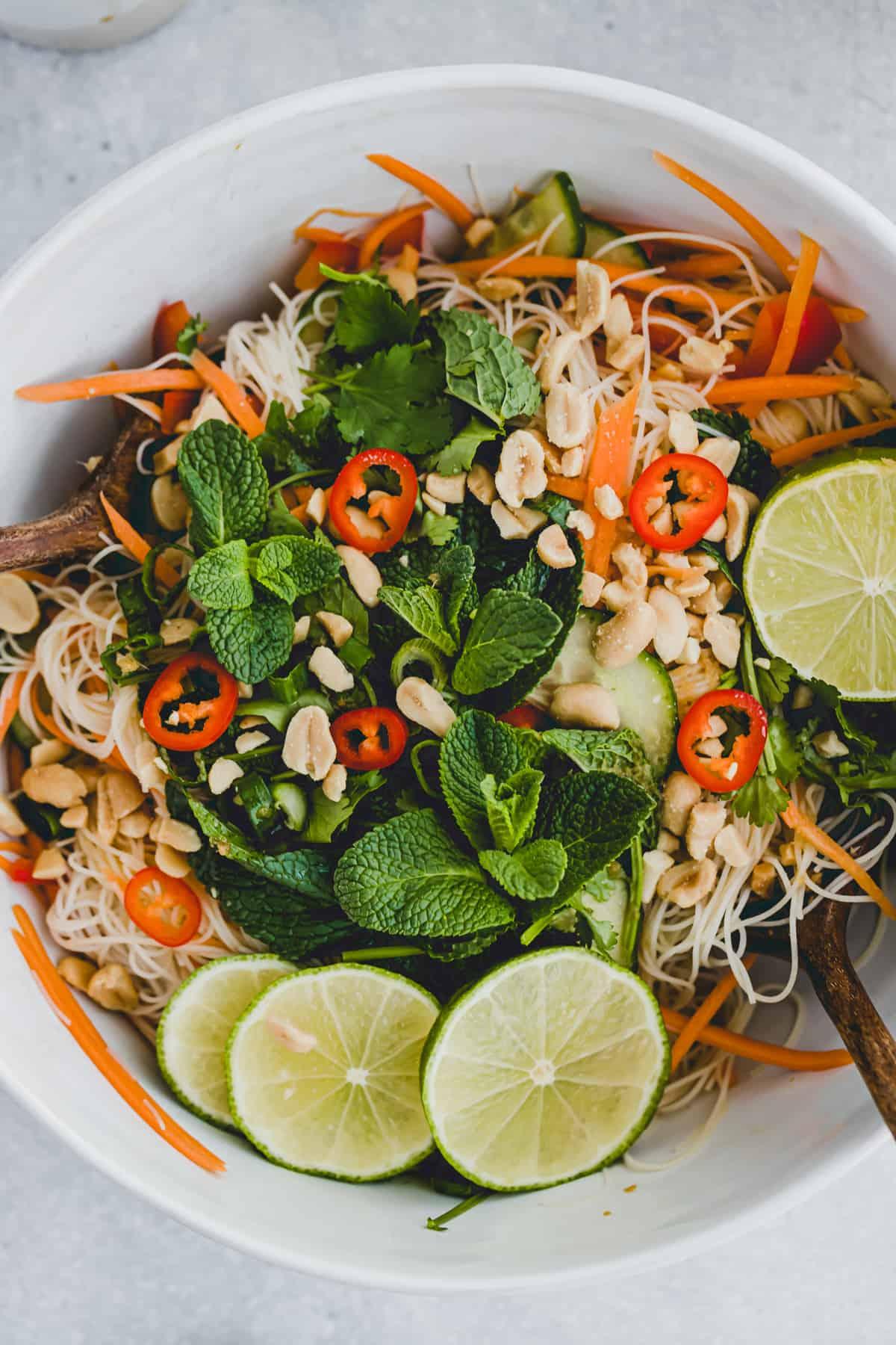 close up shot of vietnamese noodle salad