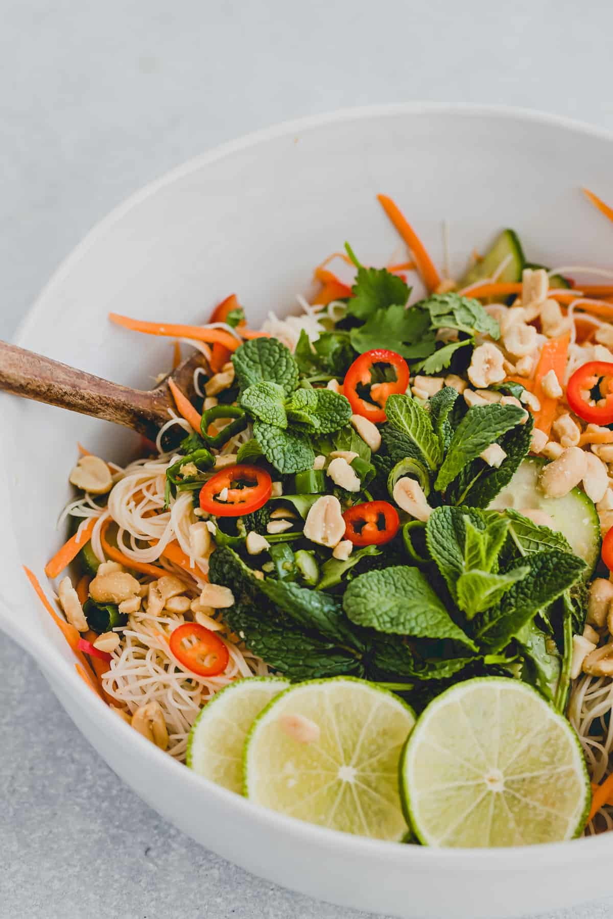 vietnamese noodle salad with fresh veggies