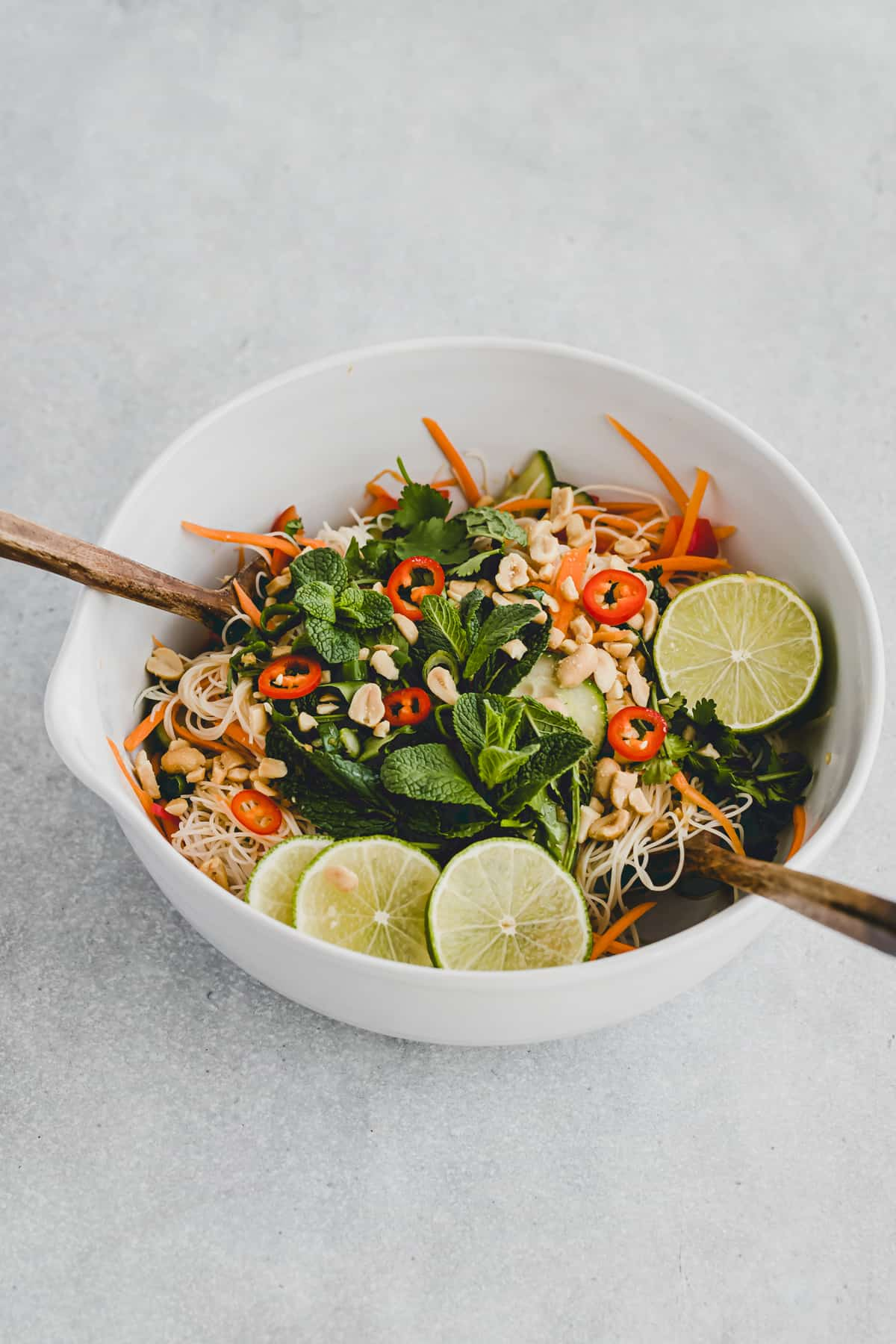 asian vermicelli salad in a bowl