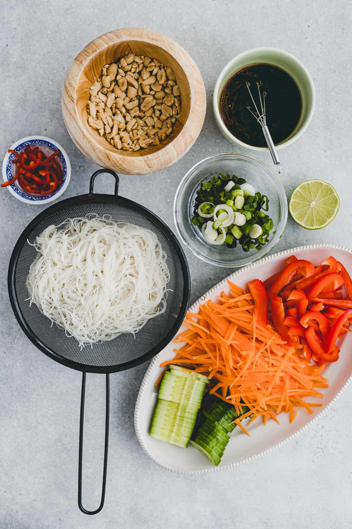 ingredients for rice noodle salad