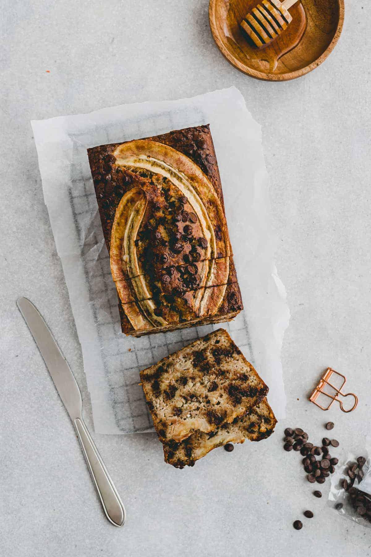 paleo chocolate chip banana bread on a rack