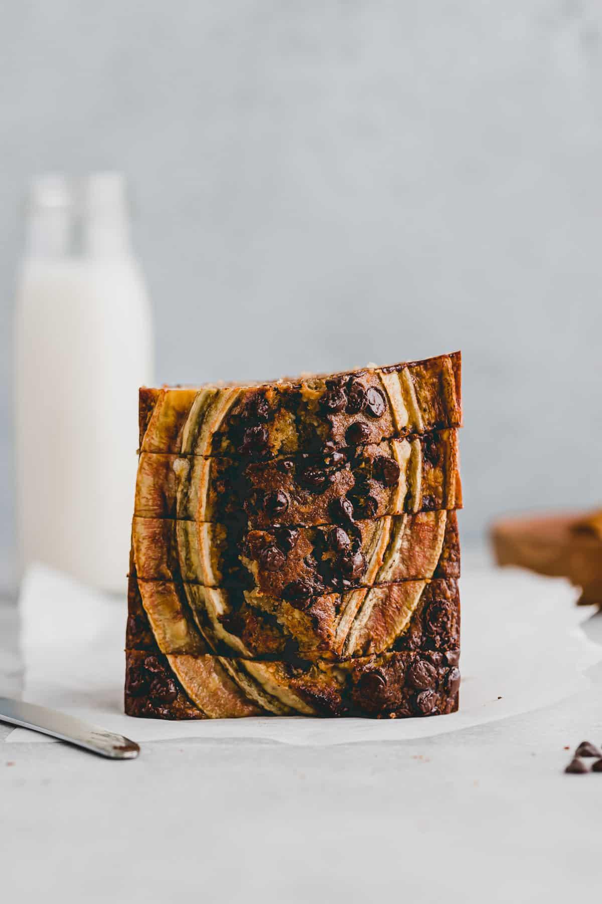 a stack of sliced gluten-free banana bread