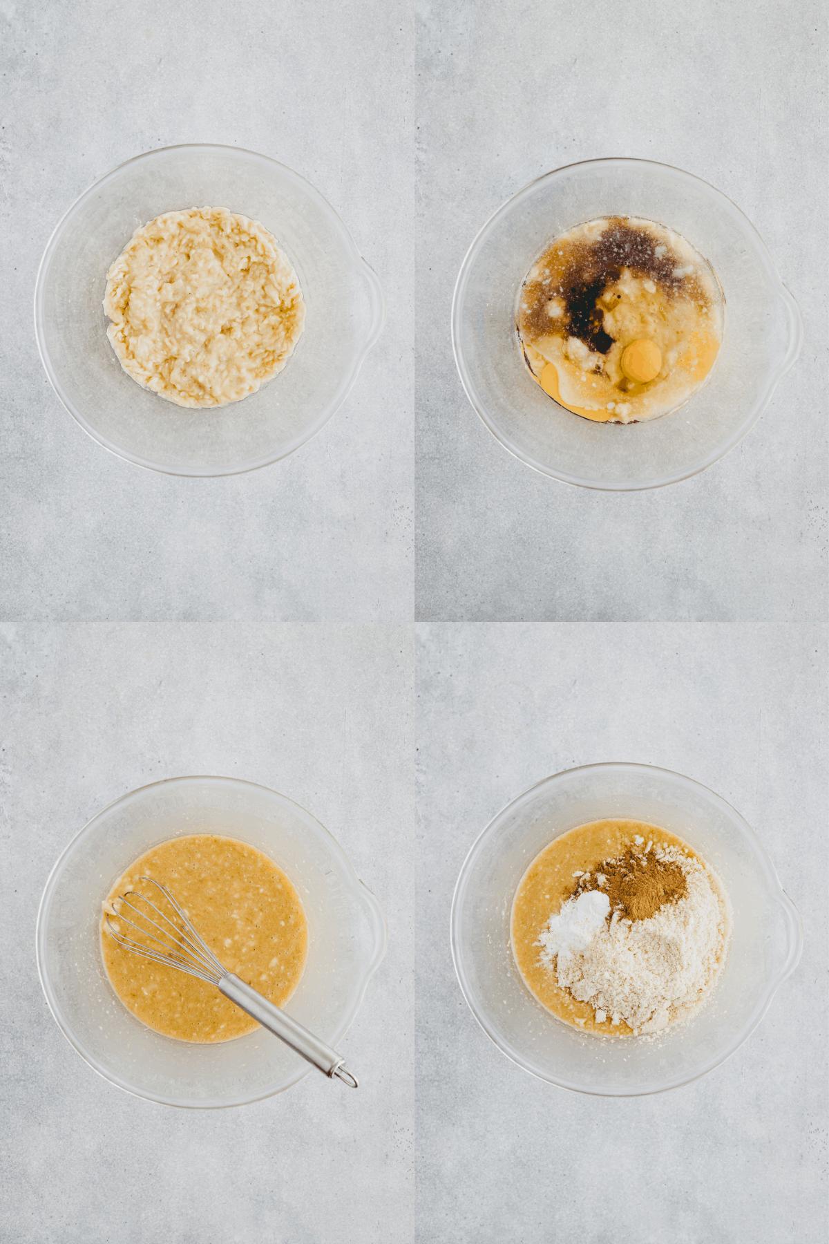 Walnut Banana Bread Recipe Step 1-4