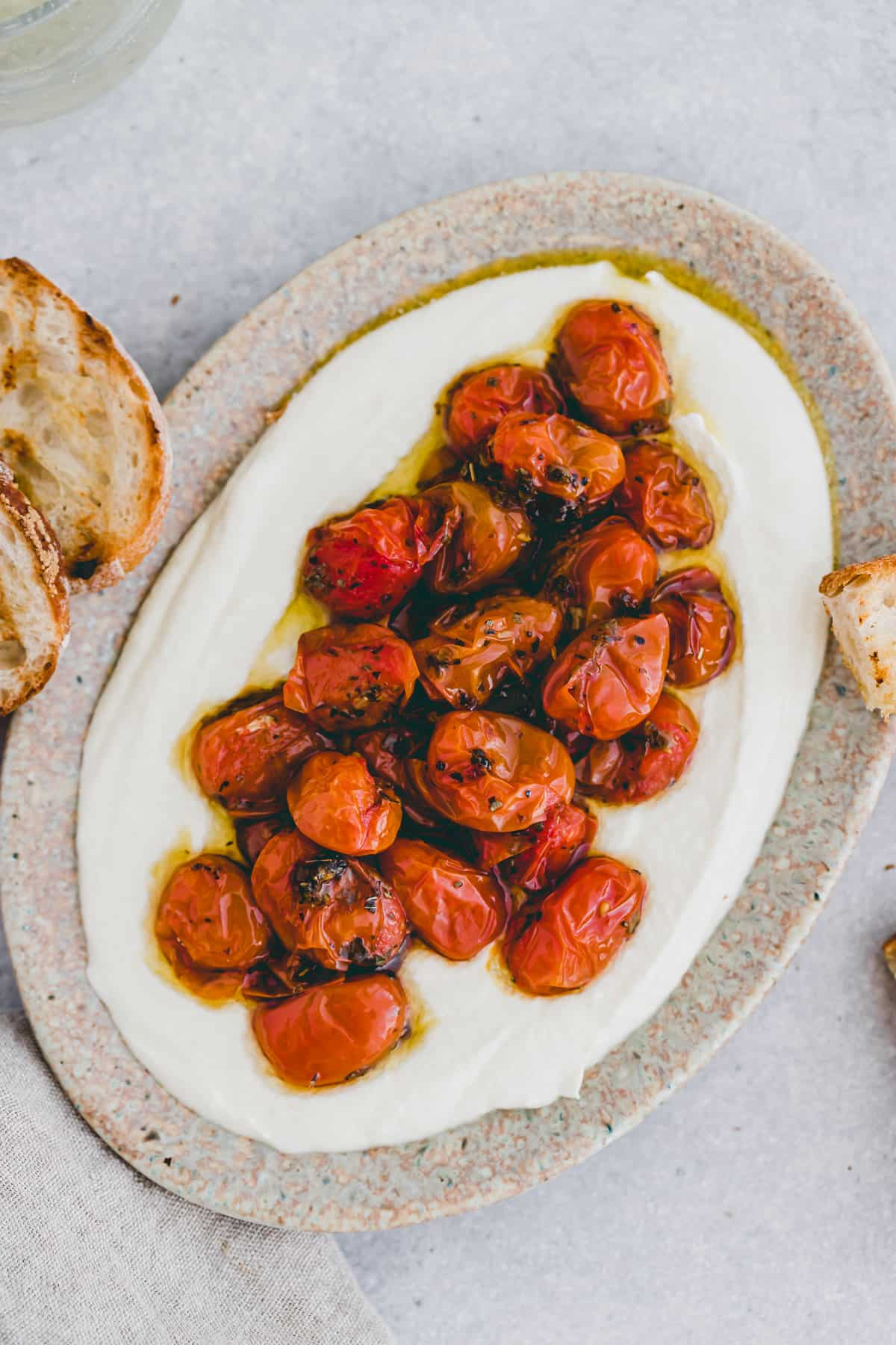 whipped feta with roasted cherry tomatoes
