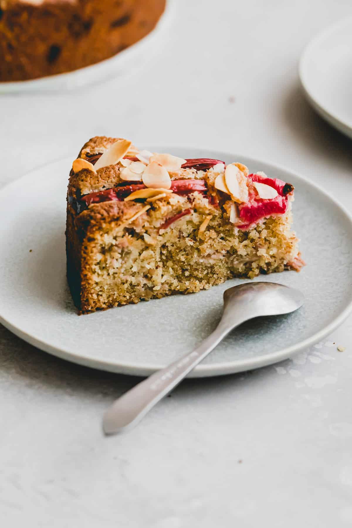 macro side shot of a slice rhubarb cake