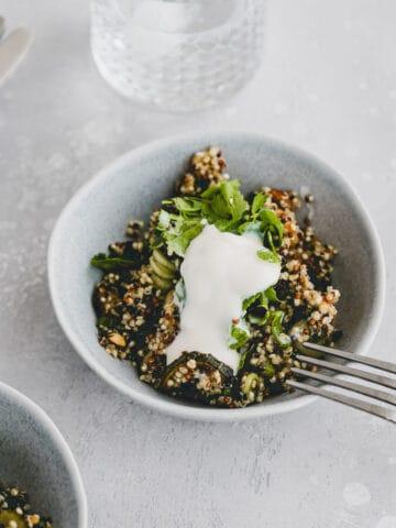 summer quinoa salad in a small bowl