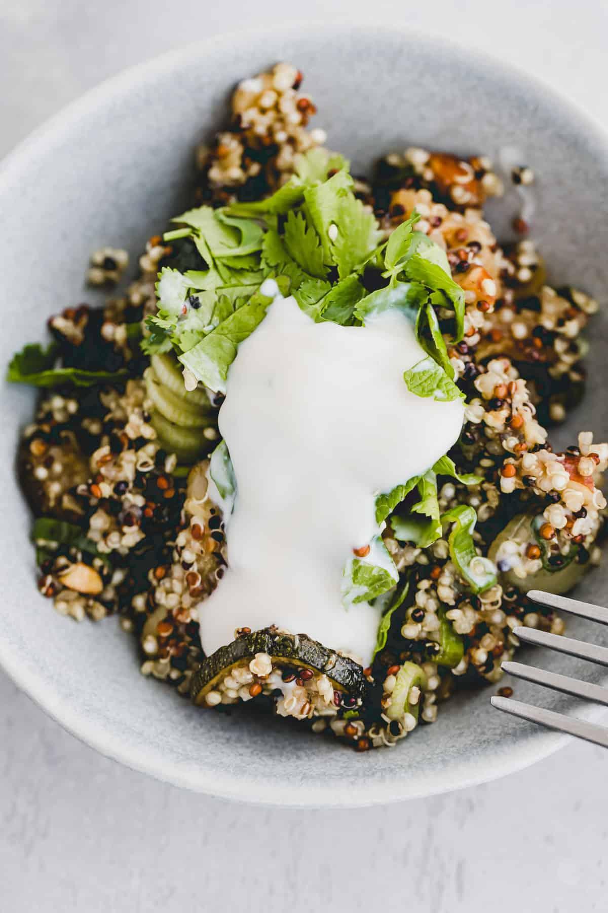 nahaufnahme von veganem quiona salat mit joghurt