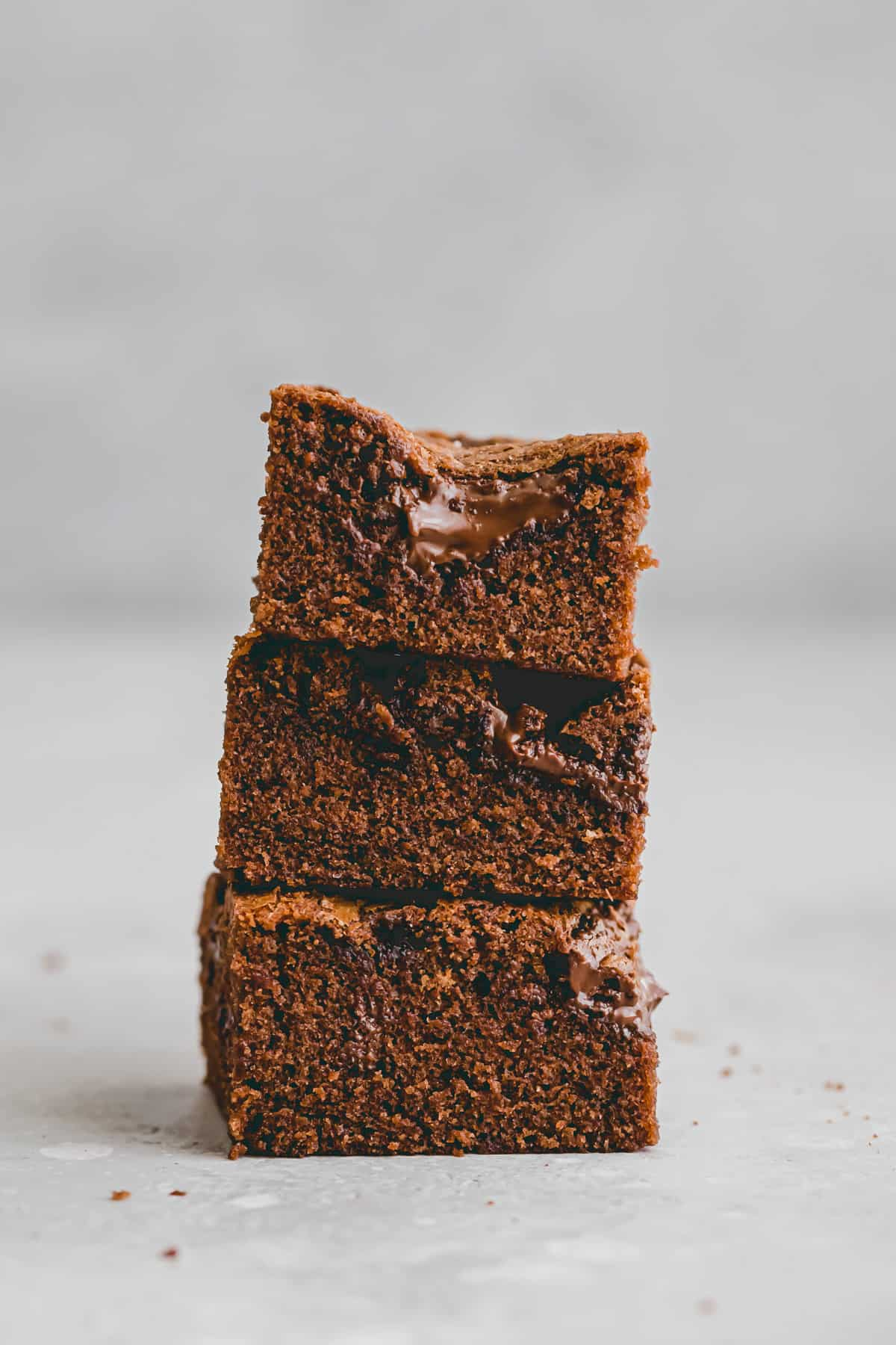 sliced and stacked nutella brownies