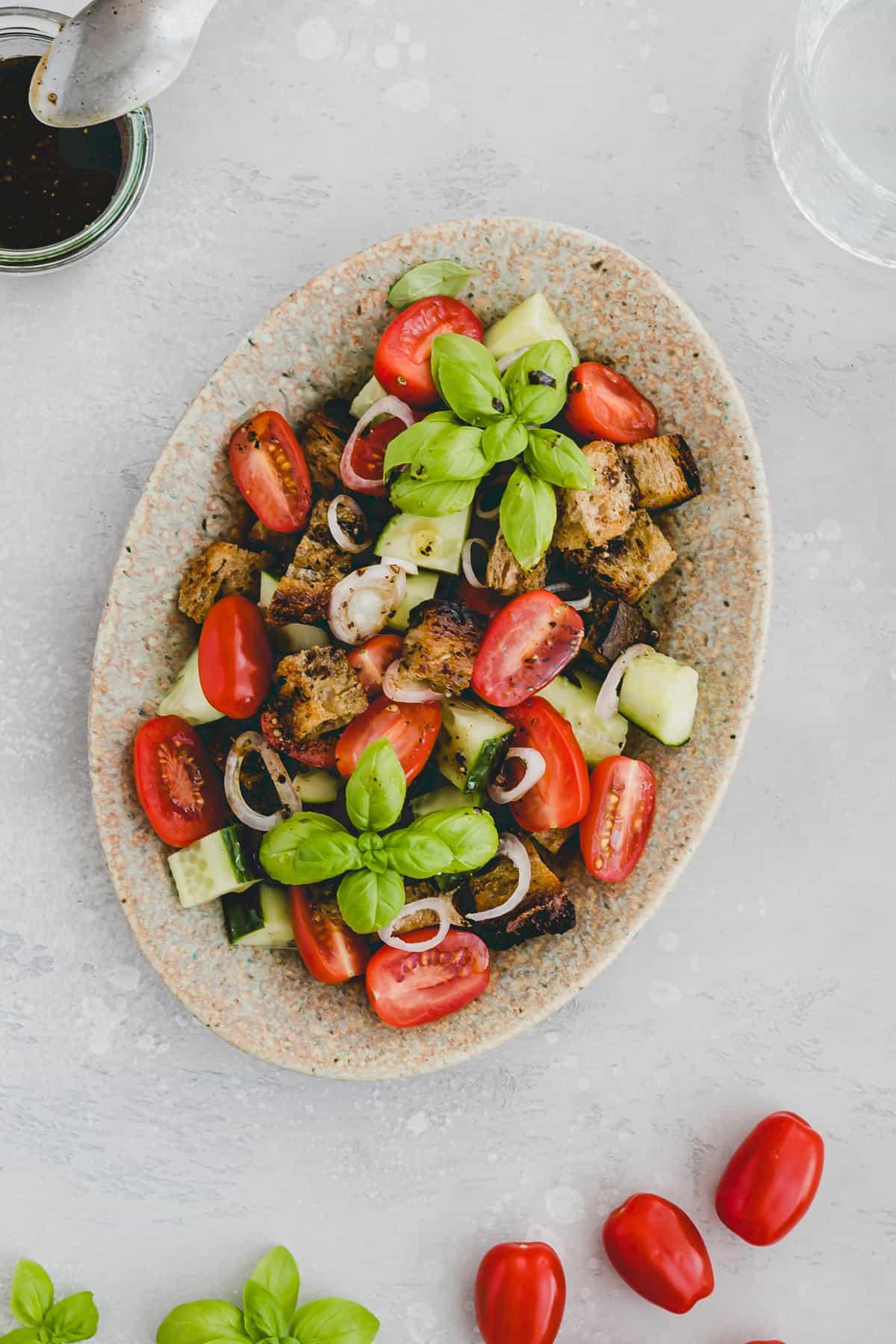 italian bread salad on a serving platter