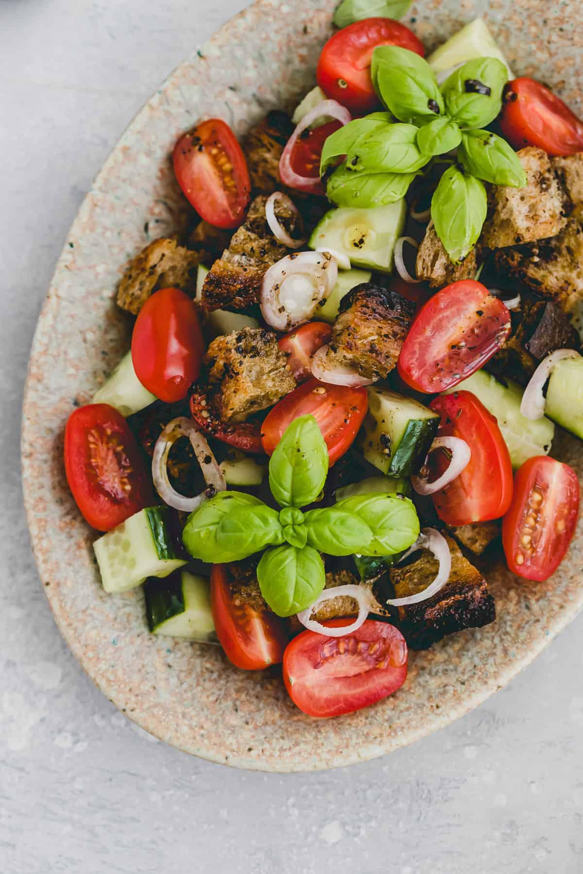 close up shot of panzanella salad