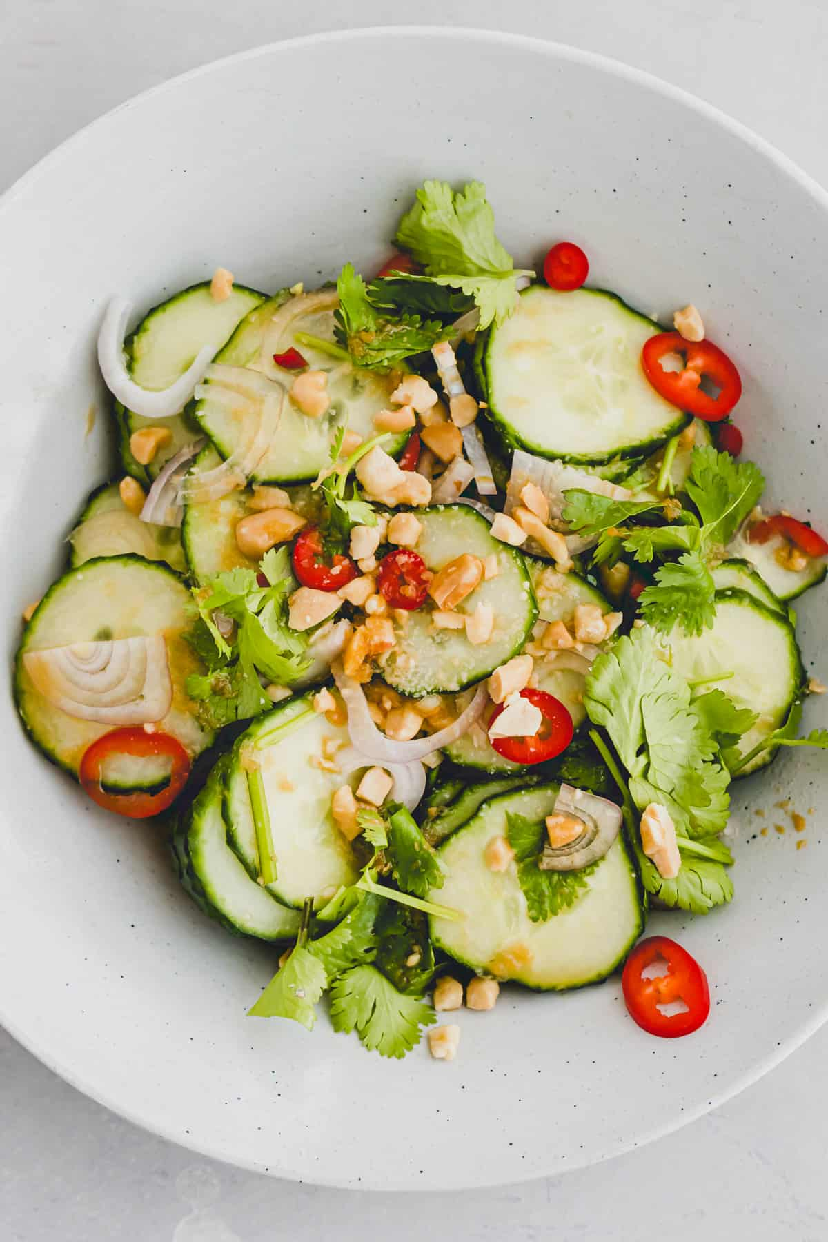 asian cucumber salad with cilantro and peanuts