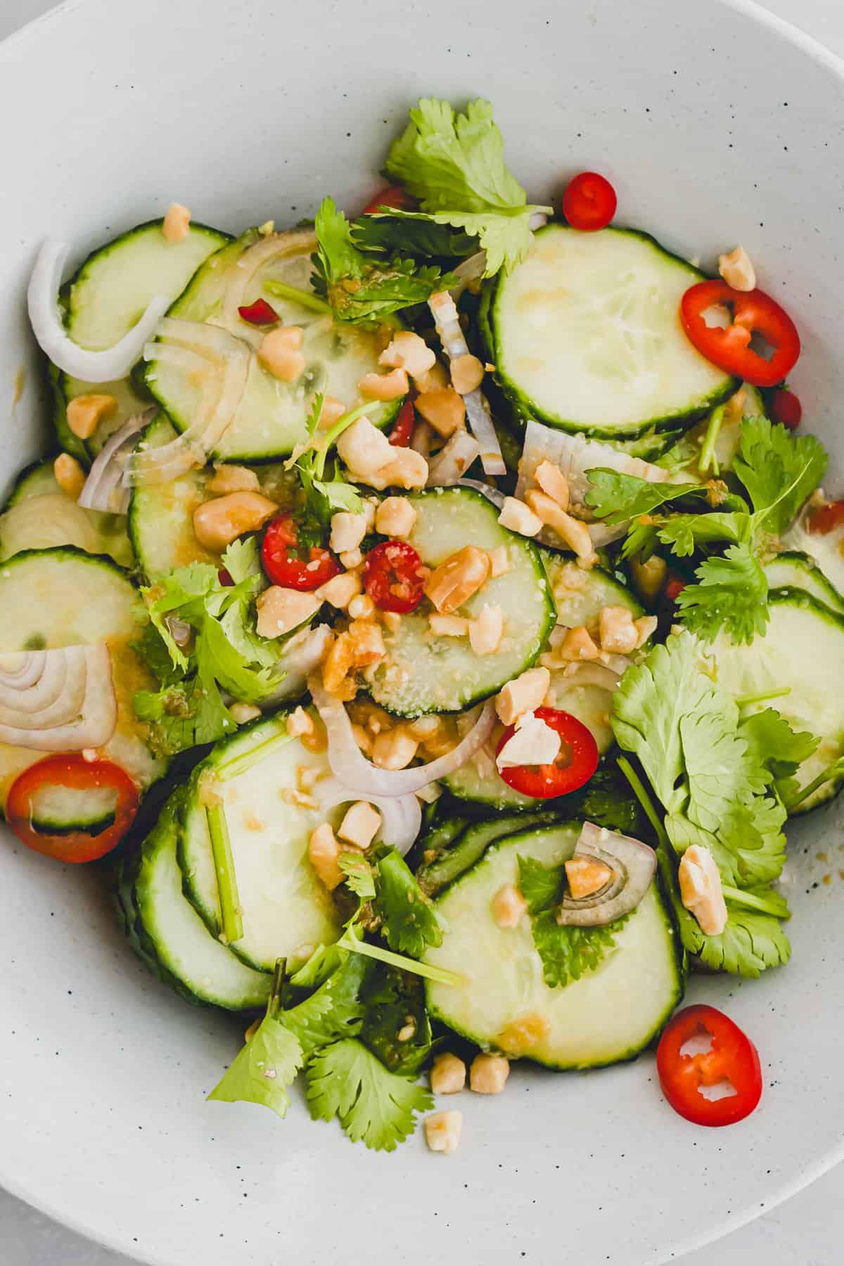 close up thai cucumber salad