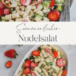 Veganer Nudelsalat mit Avocado, Erdbeeren und Joghurt Pinterest pin
