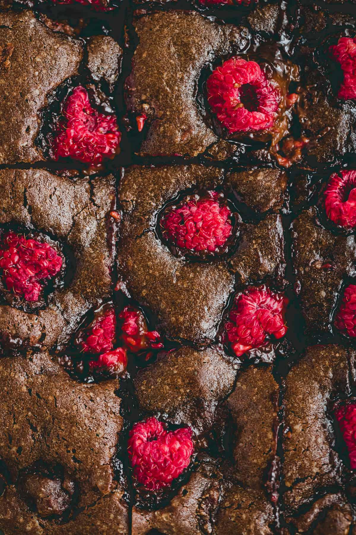 macro shot of raspberry brownies