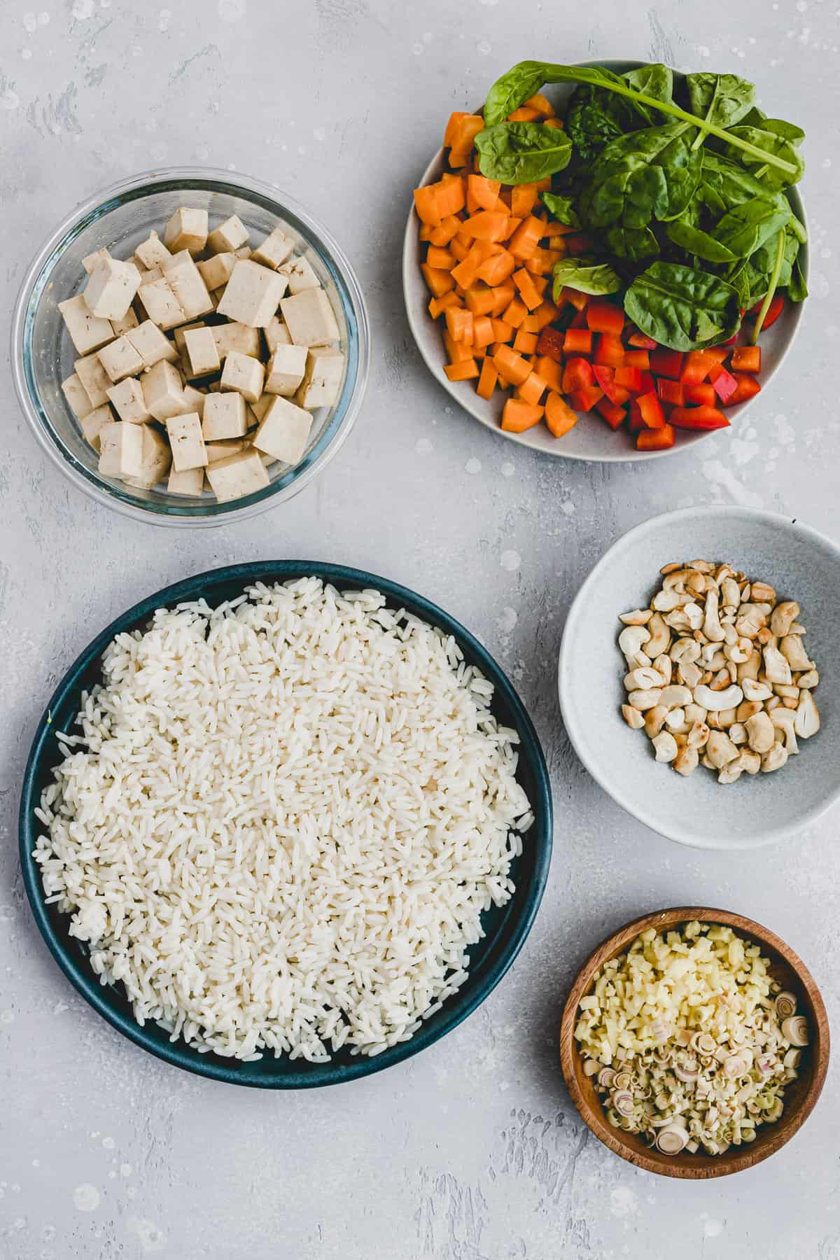 ingredients for tofu fried rice
