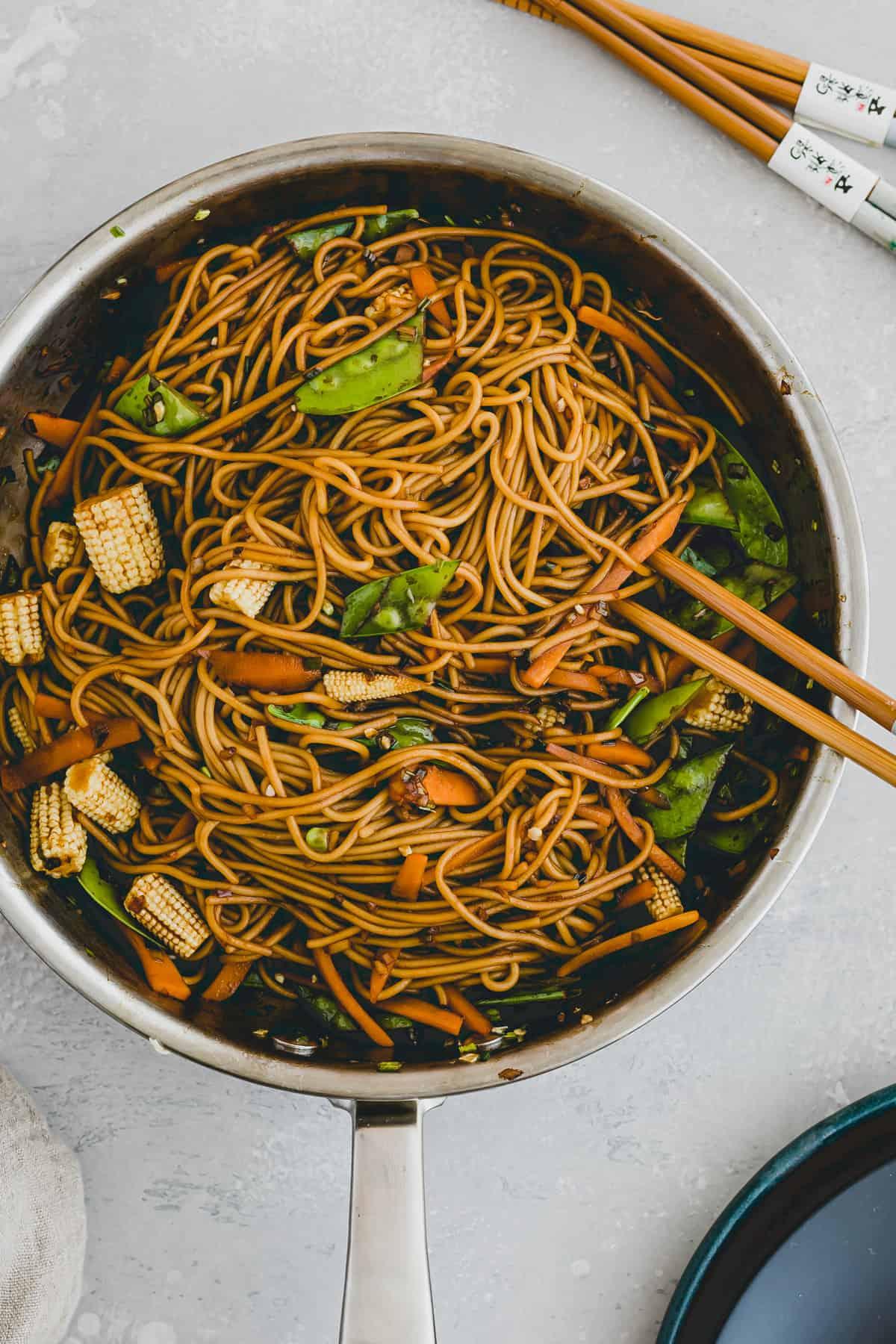 vegetable lo mein noodles in a skillet