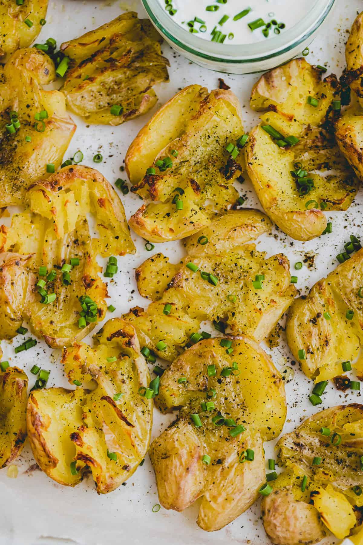 close up shot of smashed potatoes