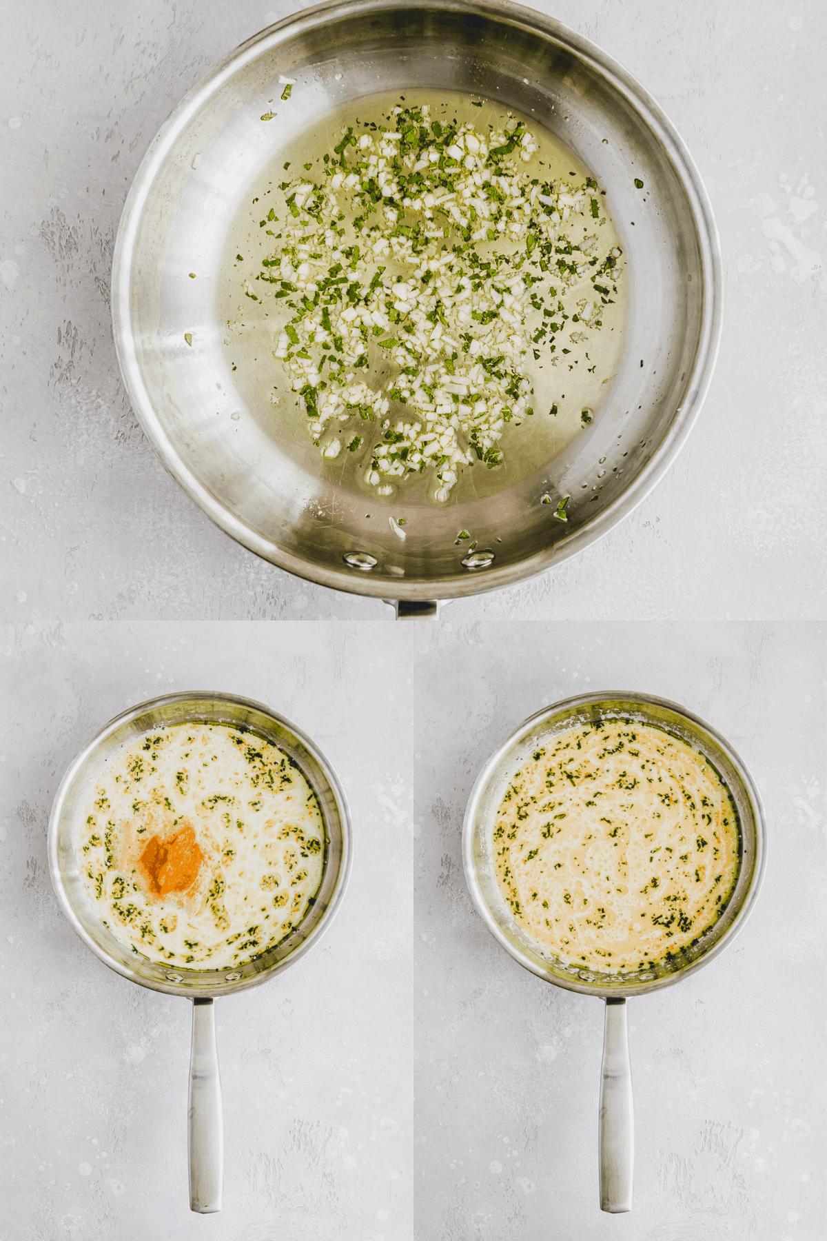 Vegan Pumpkin Alfredo Recipe Step 1-3