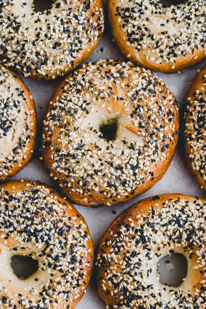 freshly baked vegan bagels